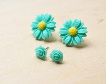 Blue Daisies and Rose Flower Stud Earrings Set
