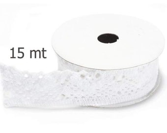 """White Lace Cotton 3/4""""width mt.15"""