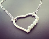 Silver Heart with Mini Freshwater Pearls Necklace