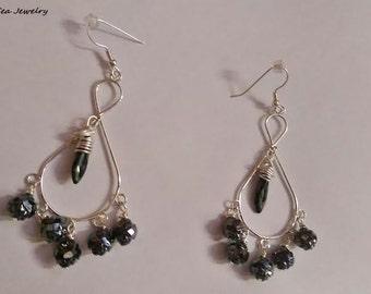 Earrings #Black #Flower #Rosetta #Peacock #Chandelier #Earrings #earthseaecojewelry