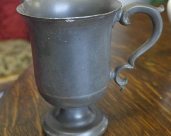 victorian antique good size pewter tankard