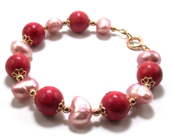 Red Coral & Freshwater Pink Pearl Gemstone Bracelet