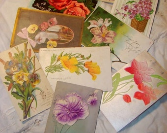 8 Victorian Floral Flower Postcards Cards 1900s Fabric