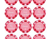INSTANT DOWNLOAD Lets Stick Together, Bee My Valentine, I Chews U Valentine Stickers, Kids Valentines, Goodie Bag Labels, Red Hearts (276)