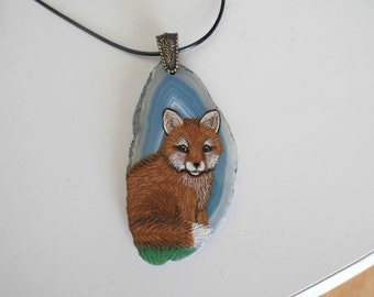"""Free shipping, Fox on large 3"""" blue agate pendant with bail and necklace, painted"""