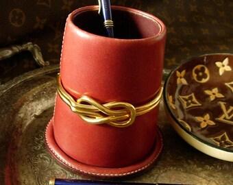 Ultra Rare Vintage GUCCI Leather / Brass Pencil Pen Cup Holder Desk Accessory