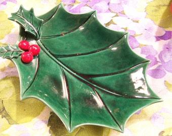 Lefton Holly Ashtray Dish Decorative Christmas