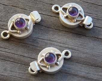 1 Sterling Silver Box Clasp Set With Amethyst Amethyst 21mm
