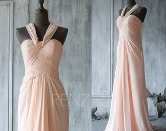 Long Peach Bridesmaid Dress, Chiffon Halter Elegant Dress, Blush Maxi Dress, Sweetheart Party Dress, Floor Length with a Train(F076)