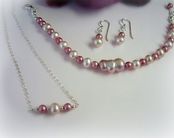 "Pearl Jewelry Set - Pearl Necklace, Bracelet, Earring with Pink Pearls - Pink Baroque Freshwater "" Peanut "" Pearl - Pink Pearl Jewelry Set"