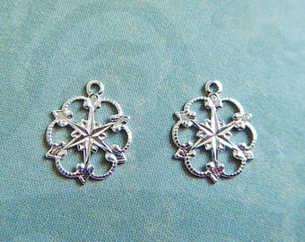 2 Pc Sterling Silver Plated Brass Victorian Small Snowflake Charm Stamping Jewelry