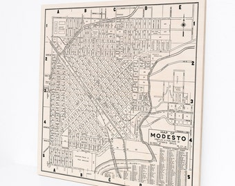 Wood Print Map, Modesto California Art