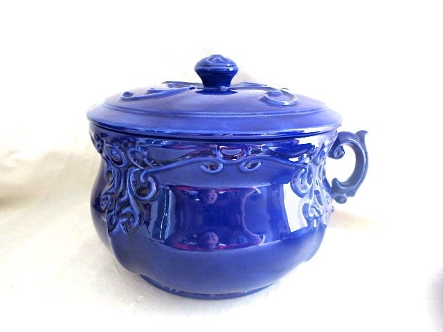 Chamber Pot Cobalt Blue With Lid Home Decor Storage By Bleuets