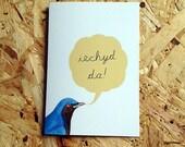 Iechyd Da! Welsh Cheers Blue Bird Eco Friendly Art Greeting Card