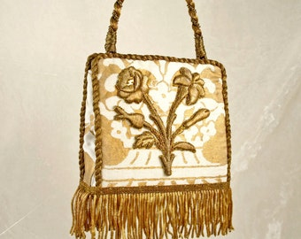 New handbag of 19th c. French handmade floral applique and coil fringe on white and metallic gold Fortuny fabric  7120