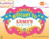 Circus Birthday Backdrop Sign - Party Printable Sign - DIY Print - Bright Pink and Aqua Colors - Vintage Carnival Party Sign