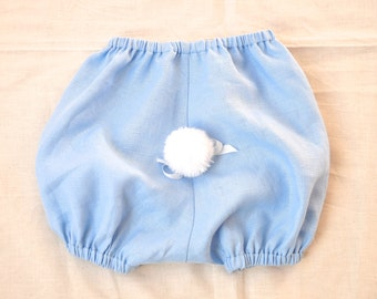 Linen Baby Bunny Bloomers In Light Blue  3mo.