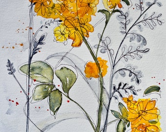 Watercolor painting of fall flowers Goldenrod original artwork by Corrine Baudinot gold yellow green black