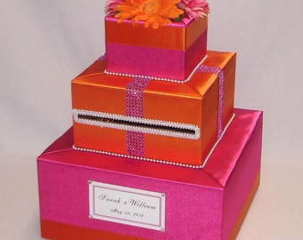 Hot Pink -Orange Wedding Card Box -any color can be made