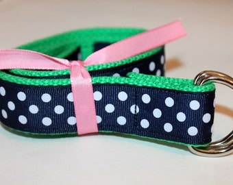 Women's Ribbon Belt  Navy Polka Dot Belt Ladies Green D Ring Belt Teen Preppy Belt Equestrian Belt School Belt Cinch Belt