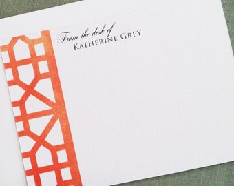 Chinoiserie Frette Pattern Personalized Stationery Orange  Set of 15