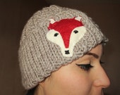 Fox hat,Taupe hat, adult fox hat, animal hat, Winter fox hat for women and for men, valentines day gift, gift ideas