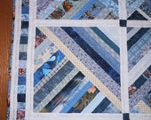 Quilt Shades of Blue Hand Quilted Lap Quilt