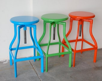 """Custom Painted Toledo Adjustable Style Stool in the Color of your Choice 24"""" - 30"""" Counter/Bar Height"""