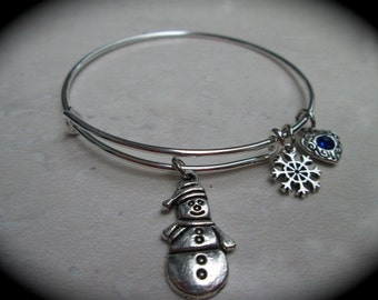 Snowman and Snowflake bracelet Holiday Collection adjustable wire bangle bracelet Winter charm bracelet Christmas