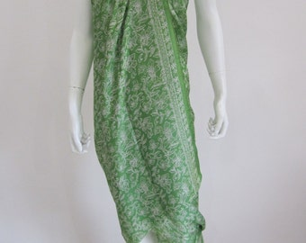 Silk Batik Sarong - Fresh Green Leaves