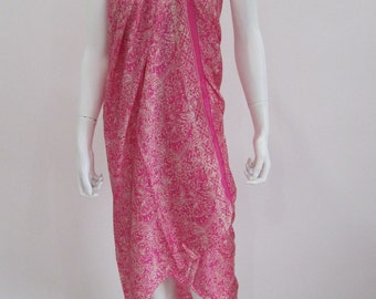Silk Batik Sarong - Sharp Pink Leaves