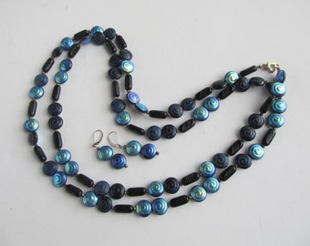 Set of Necklace and Earrings, Black and Blue AB Glass Beads