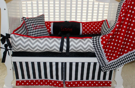 custom baby bedding 6 pc set alabama red polka dot grey