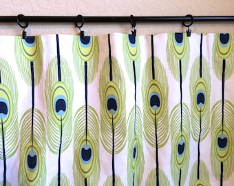 Green Peacock Feathers Curtain Panels. 25 or 50 Widths. 63, 84, 96, 108, 120 Lengths. Lime Green, Navy, Aqua.  Window Treatments. Drapery