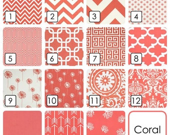 Pair of 2 Coral Pink Curtain Panels. Decorative Window Drapes. 63, 84, 96, 108, 120 Lengths. Coral Pattern Curtains