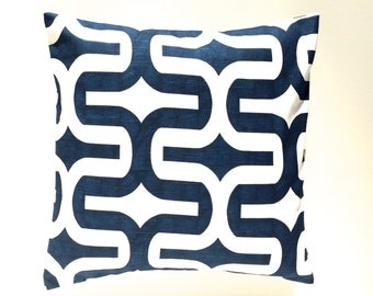 CLEARANCE 50% OFF Premier Navy Embrace Pillow Cover. Blue and White Decorative Cushion Cover
