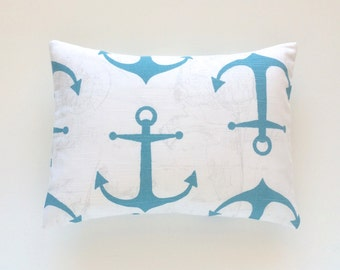 Coastal Blue Anchors Lumbar Pillow Cover. 12  X 16 Inches. Aqua Blue and White. Beach Decor Cushion Cover