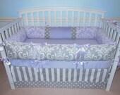 Crib Bedding  3 PC Gray Damask lavender minky