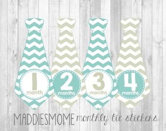 Monthly Baby Boy Tie Stickers, Milestone Stickers, Baby Month Stickers, Monthly Bodysuit Chevron Turquoise Blue Khaki Tan Gray (Turk Ties)