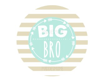 Big Brother DIY Iron on T Shirt Transfer Blue and Tan- (Big Bro Mint and Gold)