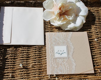 Lace Wedding Invitation Suite- The vintage lace on Craft