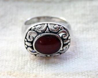 Vintage RED Resin Swirl Ring; Unique, Solid Statement Piece; Oval Resin with Open Work Silver Design. Large Size Ring.