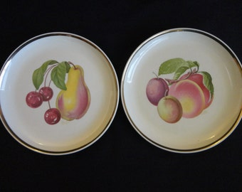 "Vintage Decorator Plates - ""Fondeville New York"" Set of 2 Fruit Plates, beautiful coloring, look good enough to eat, gold rim, 7"" diameter"