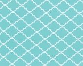 Aqua and White Quatrefoil Patterned Fabric - Quattro Piccolo by Moda 1/2 Yard