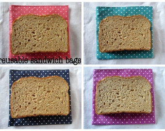 Reusable sandwich bag, medium - made to order in pink, purple, navy, or turquoise polka dot