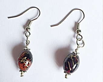 SALE - Swirl Dangly Earrings - Dangly Bead Earrings - Glass Bead Earrings - Black And Red Earrings - Gift For Her - One Of A Kind