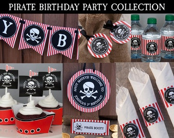 Pirate Birthday Decorations, Pirate Party Decorations, Printable PDF Files, PERSONALIZED