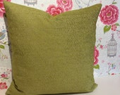 SQAURE Lime Green cushion cover, chenille velvet fabric pillow sham in NINA CAMPBELL fabric from Osborne and Little, designer fabric sham.