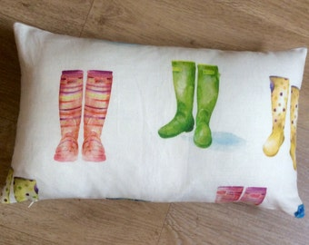 Accent cushion WELLINGTON BOOTS / WELLIES Pink Green Yellow pastel colours Designer fabric Voyage. Rectangle cushion Lumber Pillow Sham