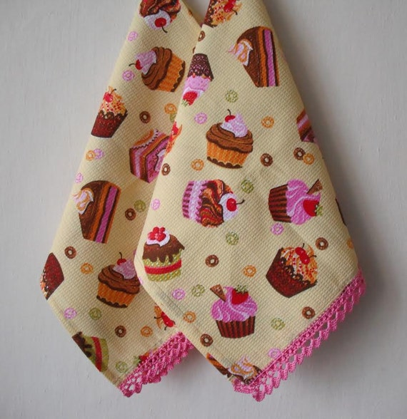 cupcake kitchen towel set of 2, waffle weave towel, dish tea towel, cotton dish towels, hand towel, towel cotton